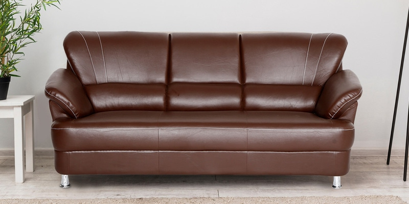 Louisiana 3 Seater Sofa In Brown Colour Intended For Louisiana Barrel Chair And Ottoman Sets (View 20 of 20)