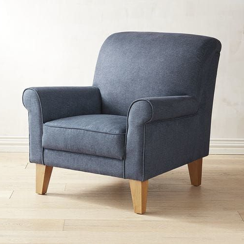 Lyndee Denim Blue Rolled Armchair | Furniture, Comfy Chairs With Oglesby Armchairs (View 14 of 20)