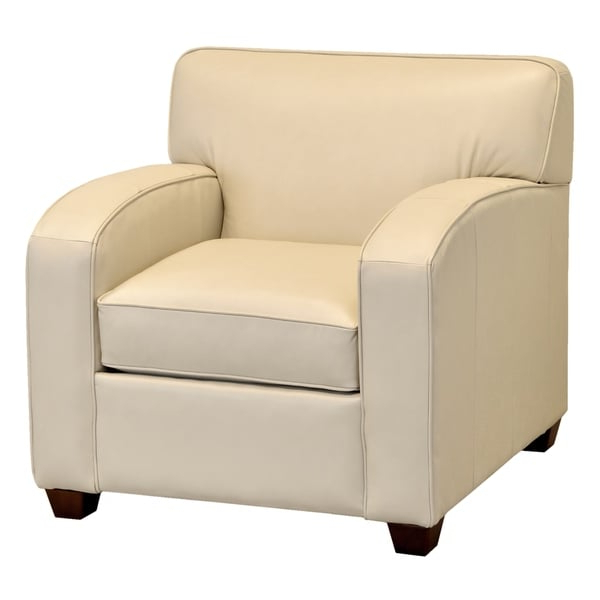 Made In Usa Hawthorn Cream Top Grain Leather Loveseat Intended For Sheldon Tufted Top Grain Leather Club Chairs (View 14 of 20)
