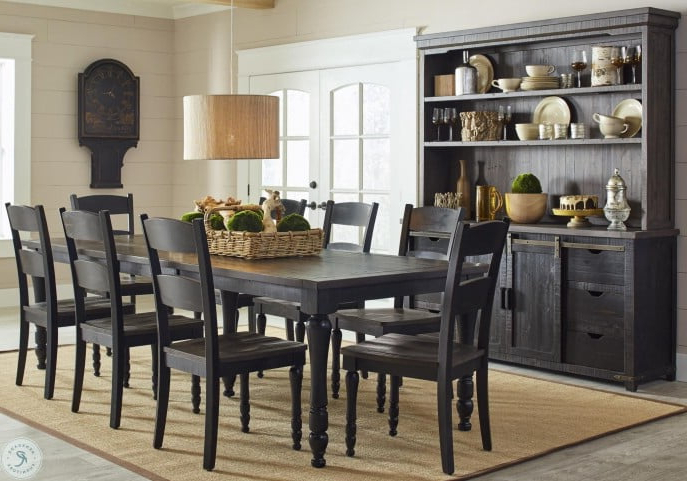 Madison County Vintage Black Rectangular Extendable Dining Room Set Pertaining To Madison Avenue Tufted Cotton Upholstered Dining Chairs (set Of 2) (View 20 of 20)