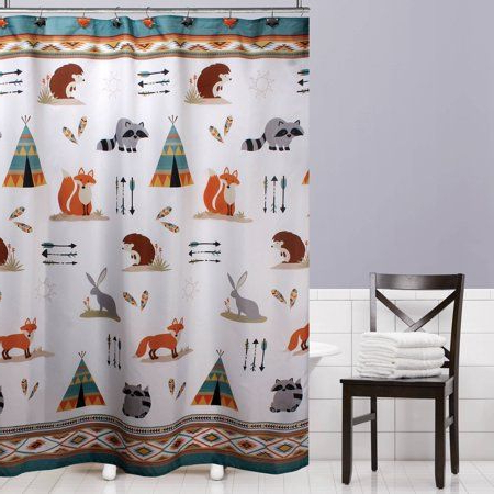 Mainstays Kids Woodland Creatures Fabric Shower Curtain, 1 Intended For Artressia Barrel Chairs (View 20 of 20)