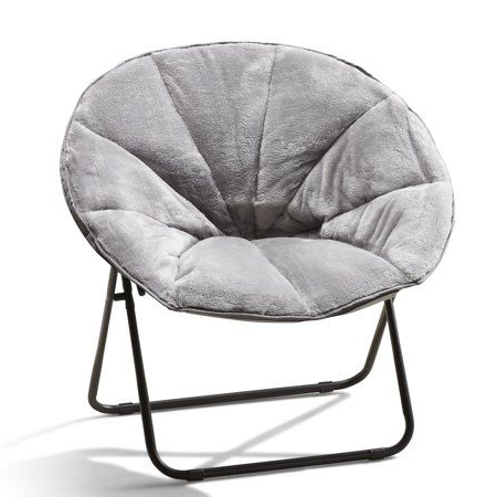Mainstays Plush Saucer Chair 1 Piece,polyester Padded Throughout Rosati Mongolian Fur Papasan Chairs (View 13 of 20)