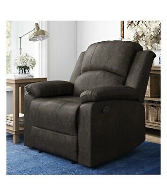 Manual Recliner Large Armchair Faux Suede Lifestyle In Reynolds Armchairs (View 11 of 20)