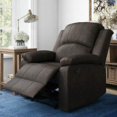 Manual Recliner Large Armchair Faux Suede Lifestyle Solutions Reynolds, Brown | Ebay For Reynolds Armchairs (View 7 of 20)