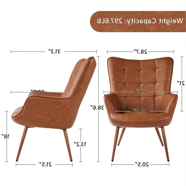 """Marisa 28"""" W Faux Leather Wingback Chair With Marisa Faux Leather Wingback Chairs (View 3 of 20)"""