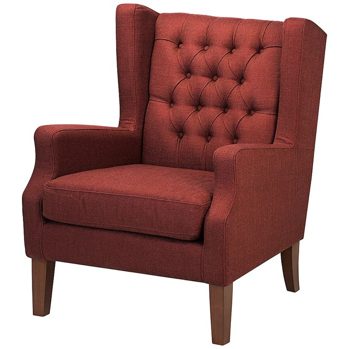 Maxwell Lillian Tufted Russet Red Armchair – Style # 7d068 Regarding Galesville Tufted Polyester Wingback Chairs (View 19 of 20)