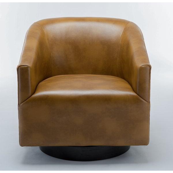 """Mcintyre 30"""" W Faux Leather Swivel Barrel Chair Throughout Faux Leather Barrel Chairs (View 12 of 20)"""