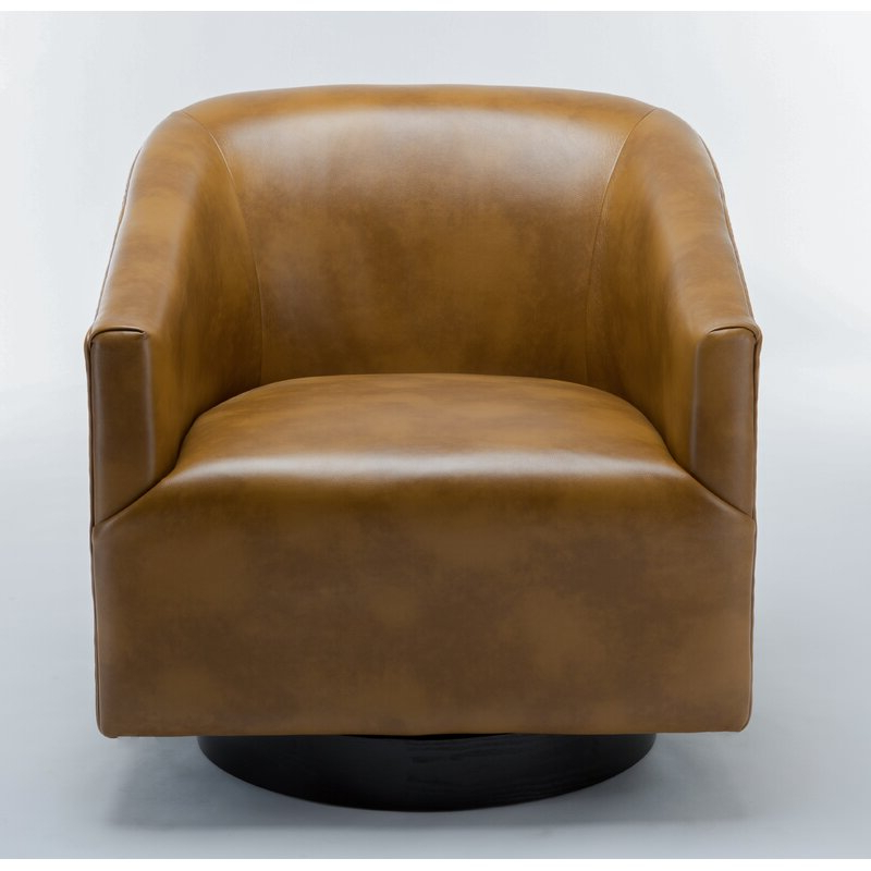 """Mcintyre 30"""" W Faux Leather Swivel Barrel Chair With Faux Leather Barrel Chairs (View 17 of 20)"""
