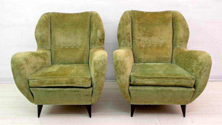 Mid Century Linen Velvet Chairs And Sofa Setgio Ponti For Isa Bergamo, 1950s, Set Of 3 Regarding Chiles Linen Side Chairs (View 16 of 20)