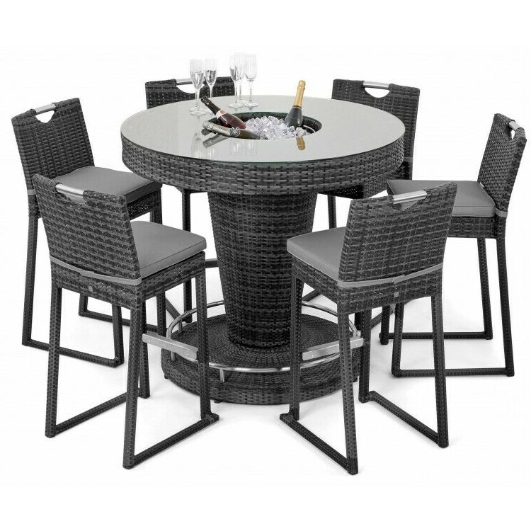Milan Rattan Garden Furniture Grey 6 Seat Round Tall Bar Set With Ice Bucket Throughout Dorcaster Barrel Chairs (View 14 of 20)
