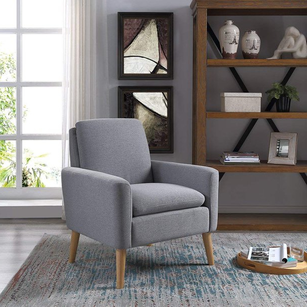 Modern Accent Chair Single Sofa Comfy Fabric Upholstered Arm Inside Oglesby Armchairs (View 11 of 20)