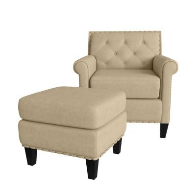 Modern – Beige – Accent Chairs – Chairs – The Home Depot Regarding Faux Leather Barrel Chair And Ottoman Sets (View 14 of 20)