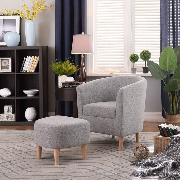Modern Chair And Ottoman With Michalak Cheswood Armchairs And Ottoman (View 13 of 20)