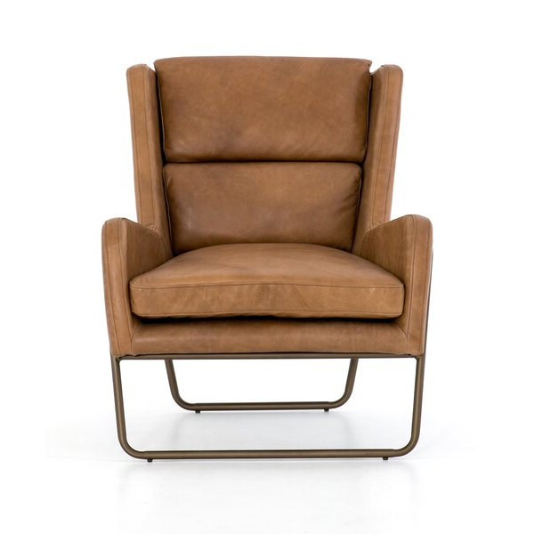 Modern & Contemporary Leather Wingback Chairs With Regard To Broadus Genuine Leather Suede Side Chairs (View 18 of 20)