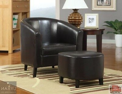 Modern Faux Leather Barrel Chair Ottoman Set Brown Seat Living Room Furniture   Ebay Inside Faux Leather Barrel Chair And Ottoman Sets (View 2 of 20)