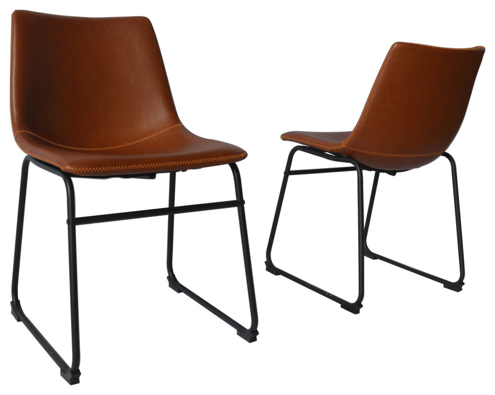 Modern Faux Leather Dining Chair, Set Of 2, Bronze For Jill Faux Leather Armchairs (View 11 of 20)