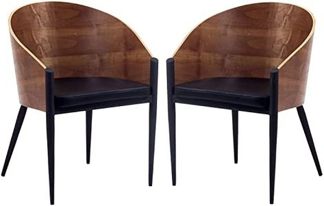 Modway Cooper Mid Century Two Dining Chairs In Faux Leather Within Bernardston Armchairs (View 8 of 20)