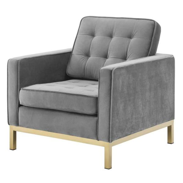 Modway Loft Gold Gray Stainless Steel Performance Velvet Inside Live It Cozy Armchairs (View 17 of 20)