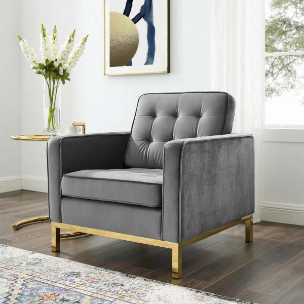 Modway Loft Gold Gray Stainless Steel Performance Velvet With Live It Cozy Armchairs (View 12 of 20)