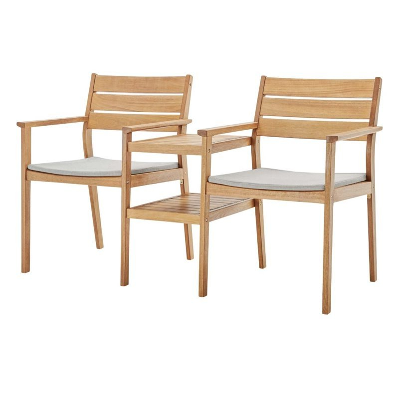 Modway Viewscape Outdoor Ash Wood Jack And Jill Chair Set In Natural And Taupe Intended For Jill Faux Leather Armchairs (View 18 of 20)