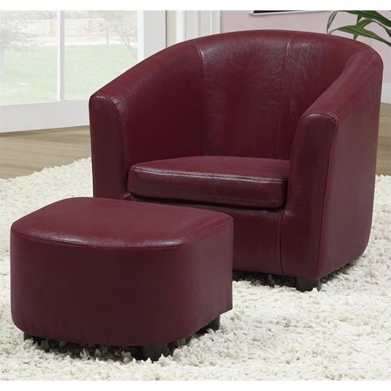 Monarch Kids Chair And Ottoman Set In Red Faux Leather Regarding Faux Leather Barrel Chair And Ottoman Sets (View 18 of 20)