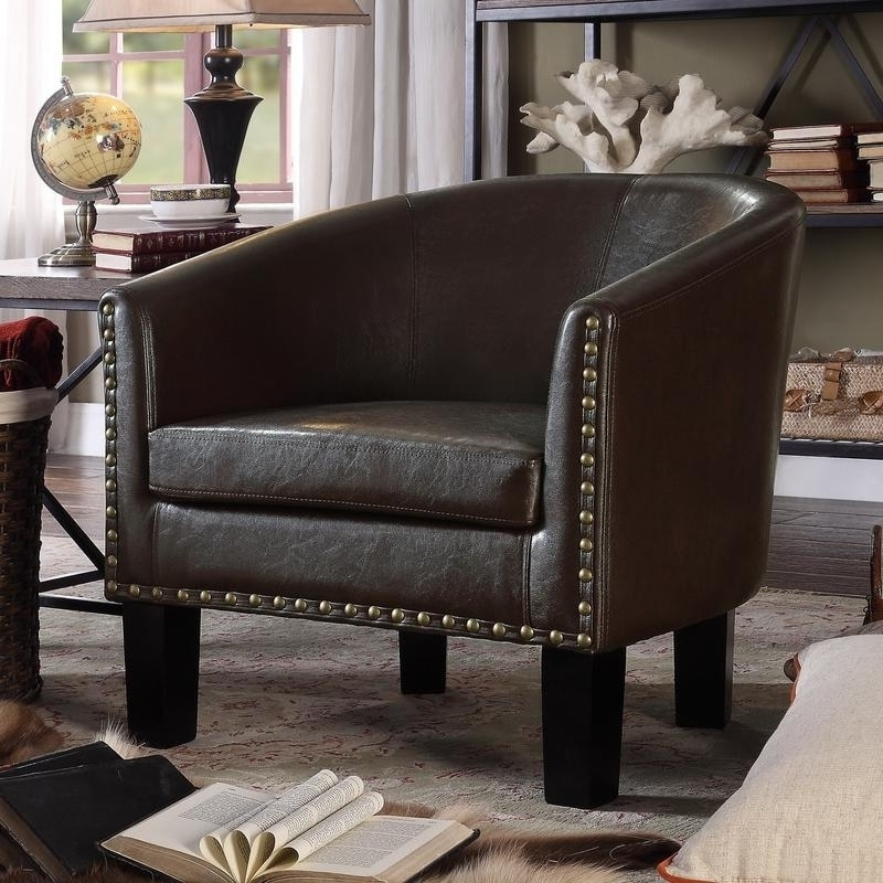 Moser Bay Furniture Isabela Faux Leather Barrel Club Chair With Faux Leather Barrel Chairs (View 5 of 20)