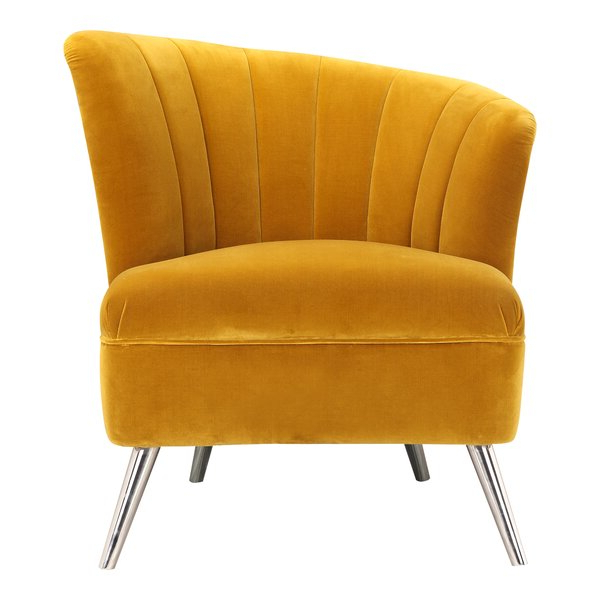 Mustard Yellow Barrel Chair With Annegret Faux Leather Barrel Chair And Ottoman Sets (View 14 of 20)