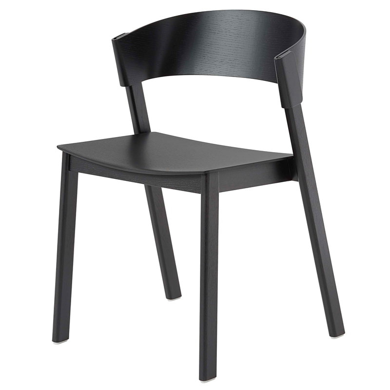 Muuto Cover Side Chair, Black | Finnish Design Shop Inside Chiles Linen Side Chairs (View 15 of 20)