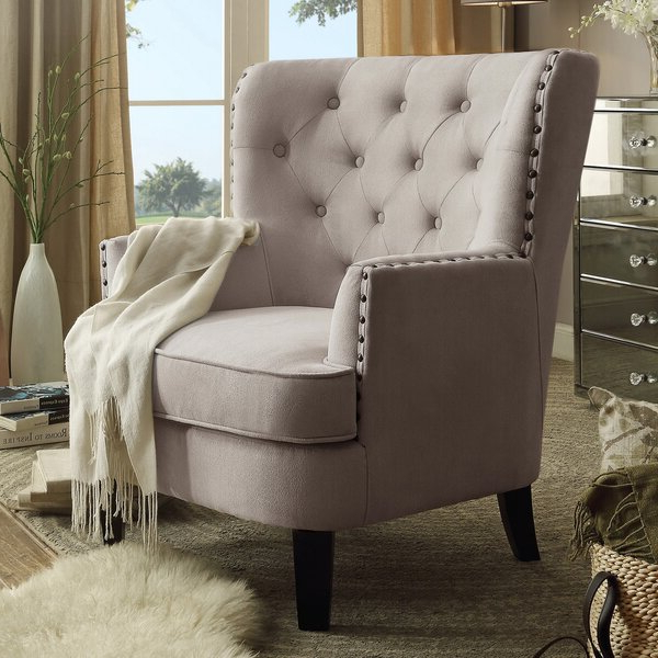 Nailhead Trim Tufted Chair Inside Suki Armchairs By Canora Grey (View 18 of 20)