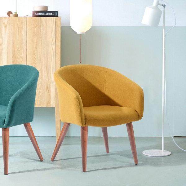 Narrow Arm Chair Yellow Regarding Biggerstaff Polyester Blend Armchairs (View 12 of 20)