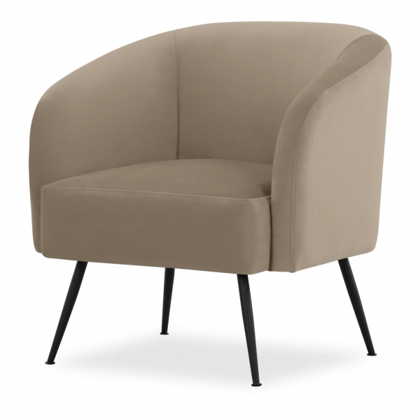 Nashville Armchair, Velvet Upholstered, Taupe With Regard To Dara Armchairs (View 10 of 20)