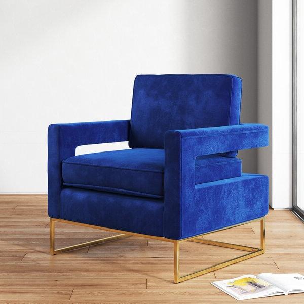 Navy Velvet Arm Chair | Wayfair With Hallsville Performance Velvet Armchairs And Ottoman (View 20 of 20)