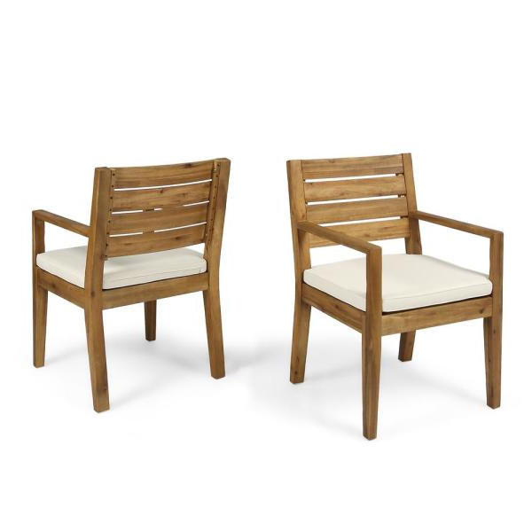 Noble House Nestor Sandblast Wood Outdoor Lounge Chair With Regarding Nestor Wingback Chairs (View 16 of 20)