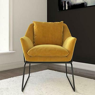 Novogratz Alivia Butaca De Terciopelo Amarillo Mostaza | Ebay For Aalivia Slipper Chairs (View 9 of 20)