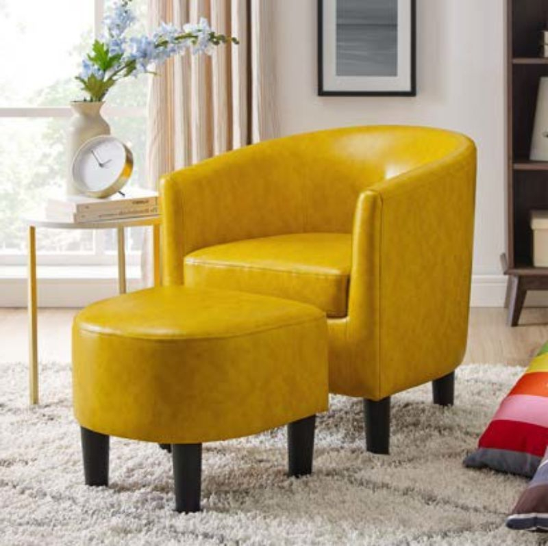 Oah D7986 Lilola Roseann Wrought Studio Yellow Faux Leather Within Liam Faux Leather Barrel Chairs (View 13 of 20)