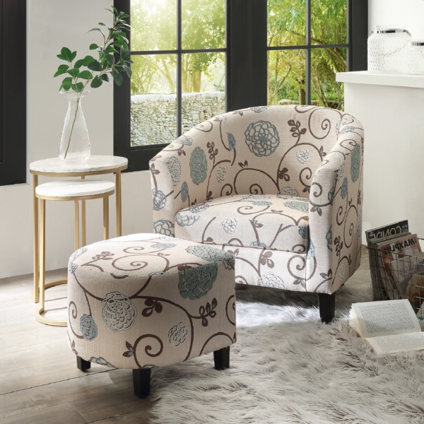 Off White Chair And Ottoman With Briseno Barrel Chairs (View 19 of 20)