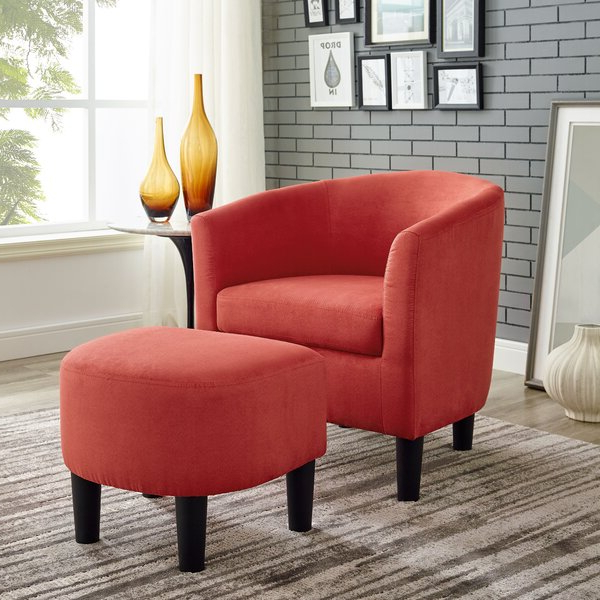 Orange Chair And Ottoman With Chaithra Barrel Chair And Ottoman Sets (View 6 of 20)