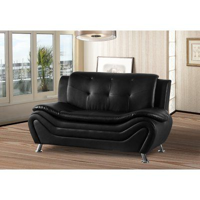 Orren Ellis Montenegro Living Room Loveseat Upholstery Inside Montenegro Faux Leather Club Chairs (View 5 of 20)