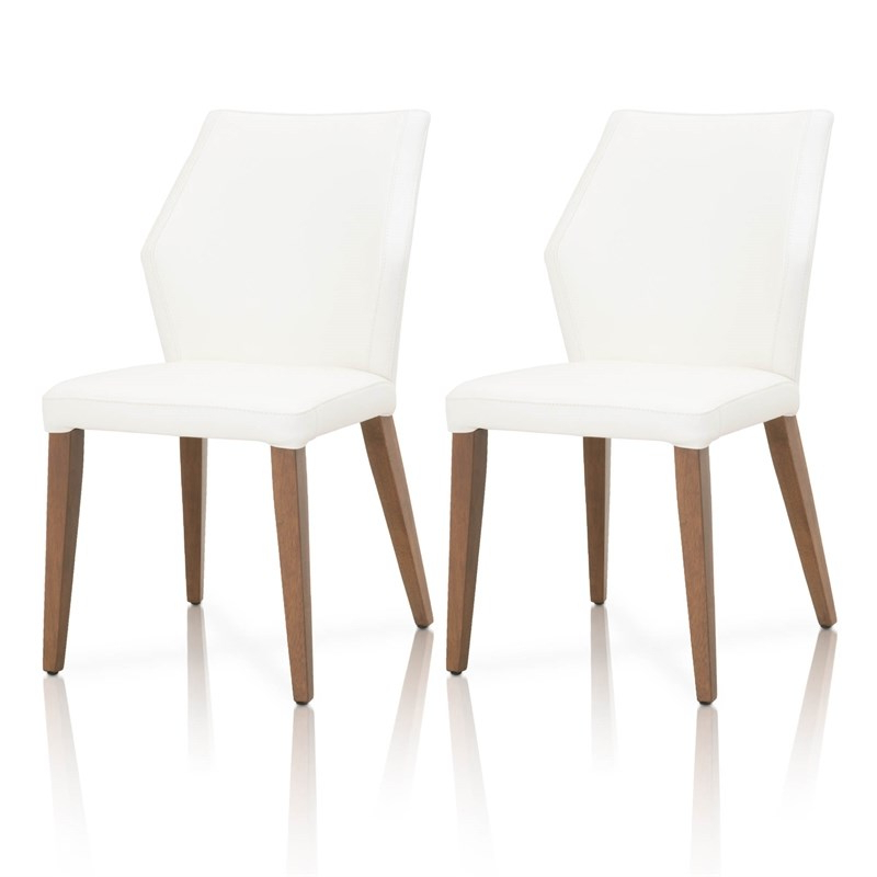 Oslo Leather Dining Side Chair In Alabaster (set Of 2 Regarding Liston Faux Leather Barrel Chairs (View 17 of 20)