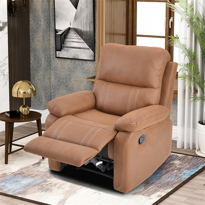 Overstock Recliner Chair With Padded Seat Faux Leather Home Theater Seating Intended For Ansar Faux Leather Barrel Chairs (View 20 of 20)