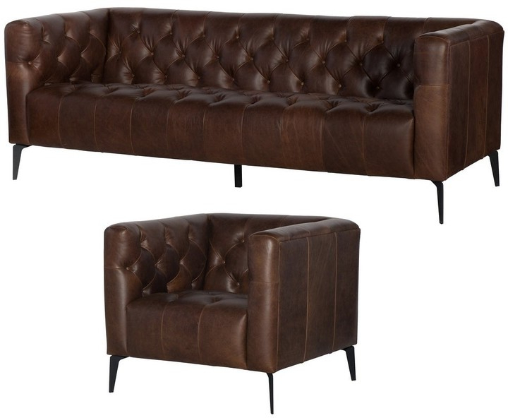 Overstock Wildon Distressed Brown Tufted Leather Chesterfield Sofa And Chair Intended For Kjellfrid Chesterfield Chairs (View 19 of 20)