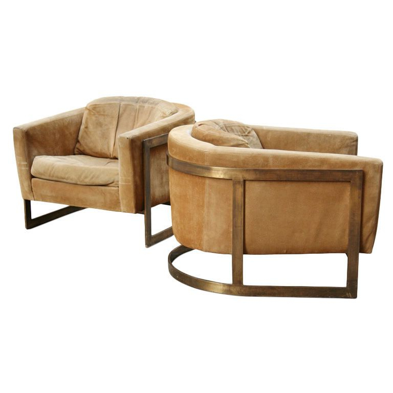Pair Of Bronze Frame Upholstered Barrel Lounge Chairs In With Nadene Armchairs (View 19 of 20)