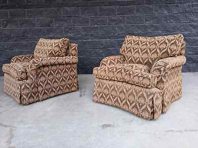 Pair Of Connoisseur Club Accent Chairs W/ Feather Filled Cushions (brown) | Ebay For Easterling Velvet Slipper Chairs (View 16 of 20)