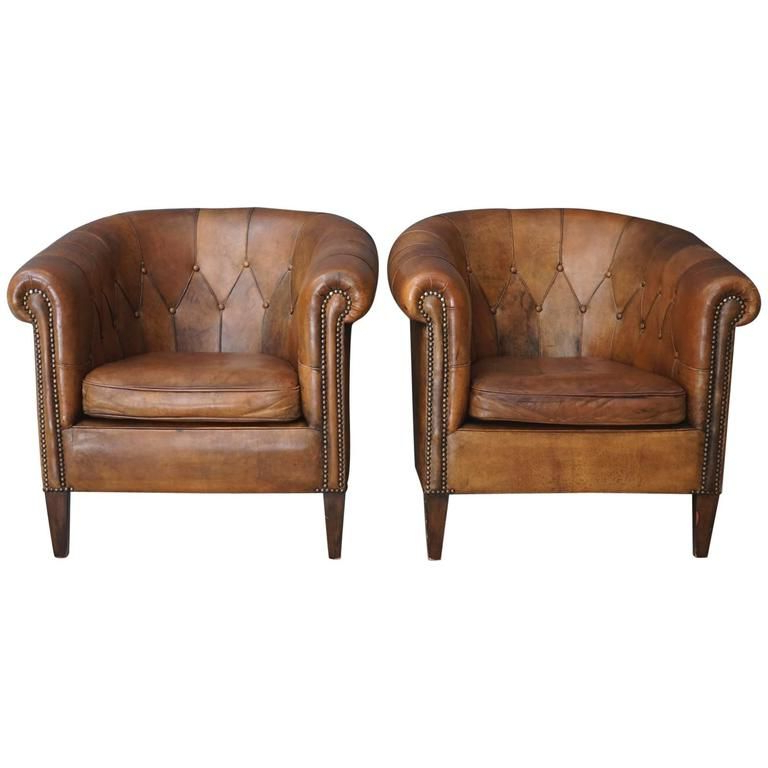 Pair Of Vintage Cognac Leather Club Chairs | Small Leather With Sheldon Tufted Top Grain Leather Club Chairs (View 19 of 20)