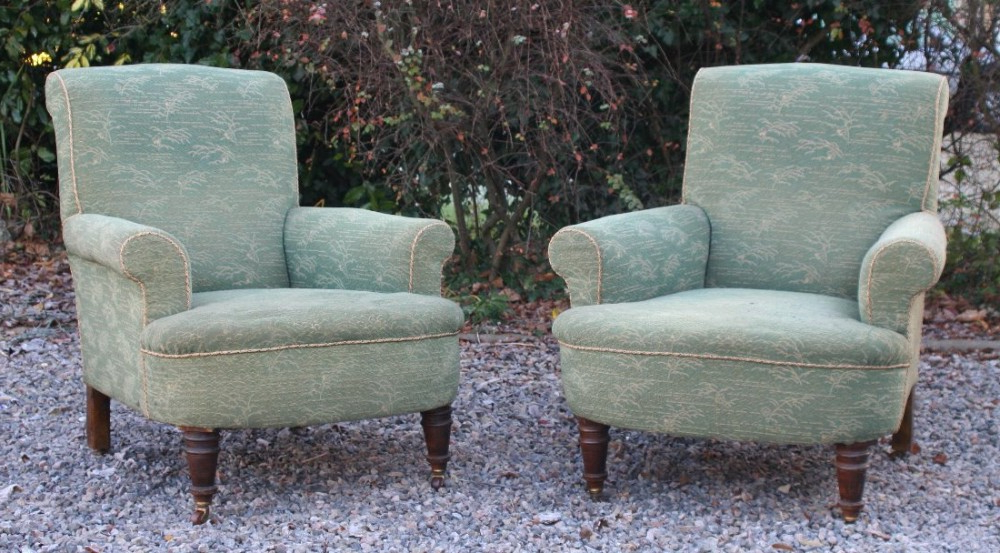 Pair Victorian Howard Style Long Seat Mahogany Armchairs Pertaining To Reynolds Armchairs (View 16 of 20)