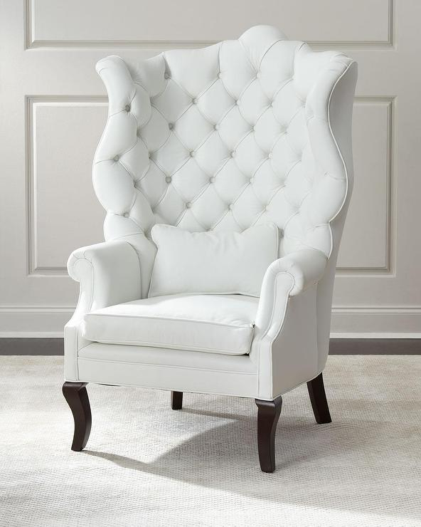 Pantages White Leather Wing Chair Regarding Busti Wingback Chairs (View 16 of 20)
