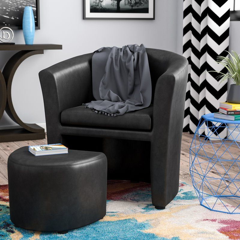 Park Slope Barrel Chair And Ottoman   Chair And Ottoman For Faux Leather Barrel Chair And Ottoman Sets (View 12 of 20)