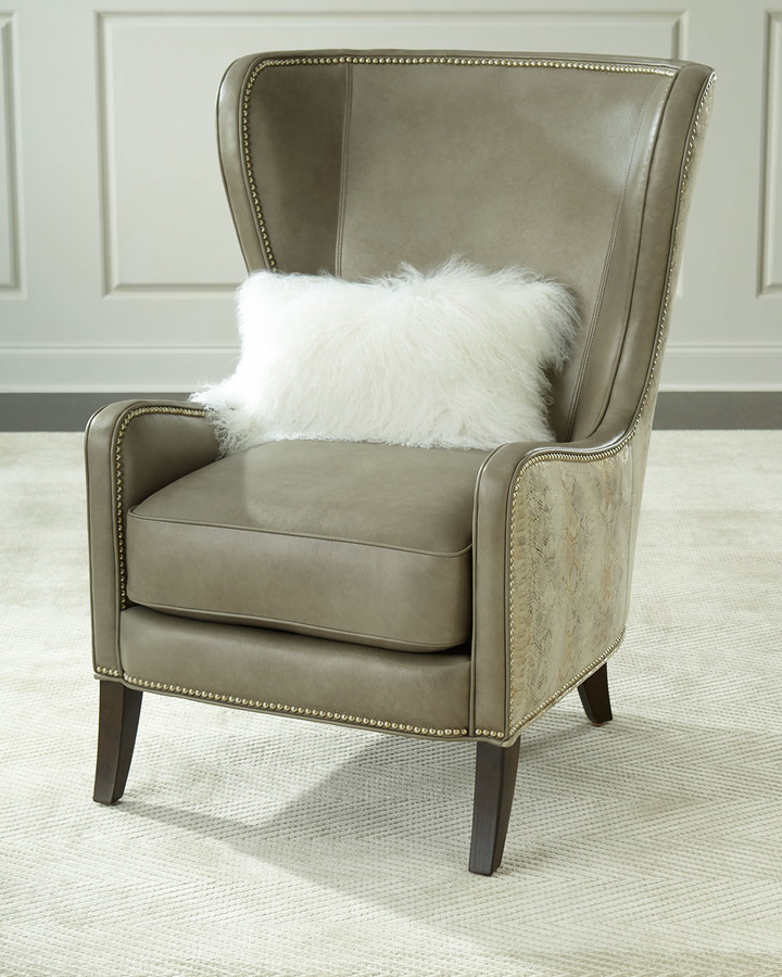 Pelham Leather Wingback Chair, Gray Metallic In Saige Wingback Chairs (View 19 of 20)