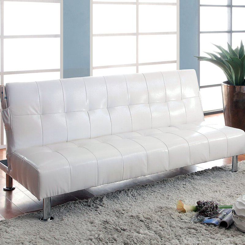 Perz Tufted Convertible Sofa With Regard To Perz Tufted Faux Leather Convertible Chairs (View 6 of 20)