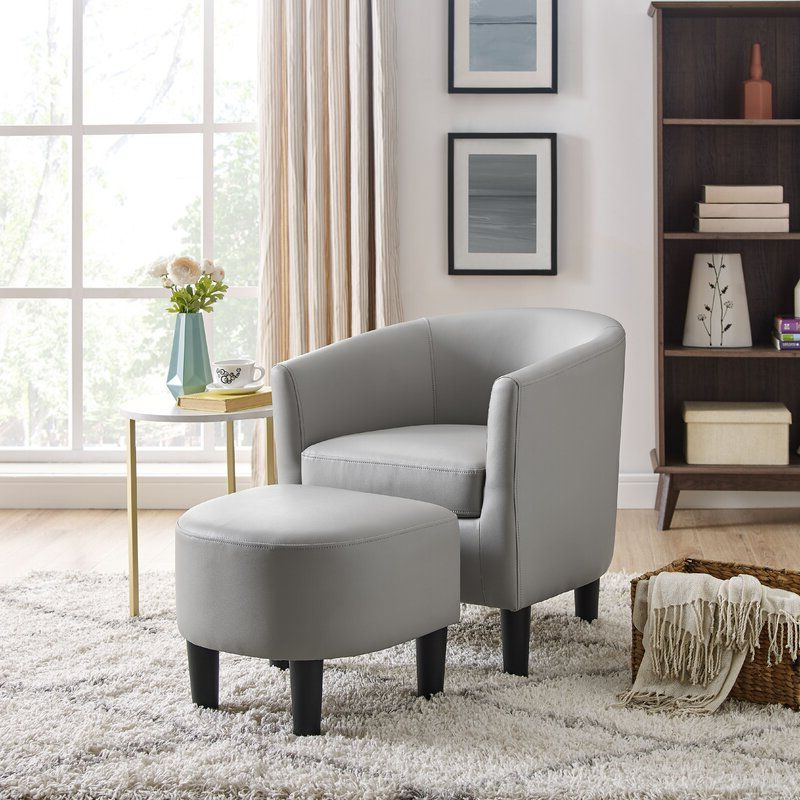 Pin On Furniture Regarding Lucea Faux Leather Barrel Chairs And Ottoman (View 9 of 20)
